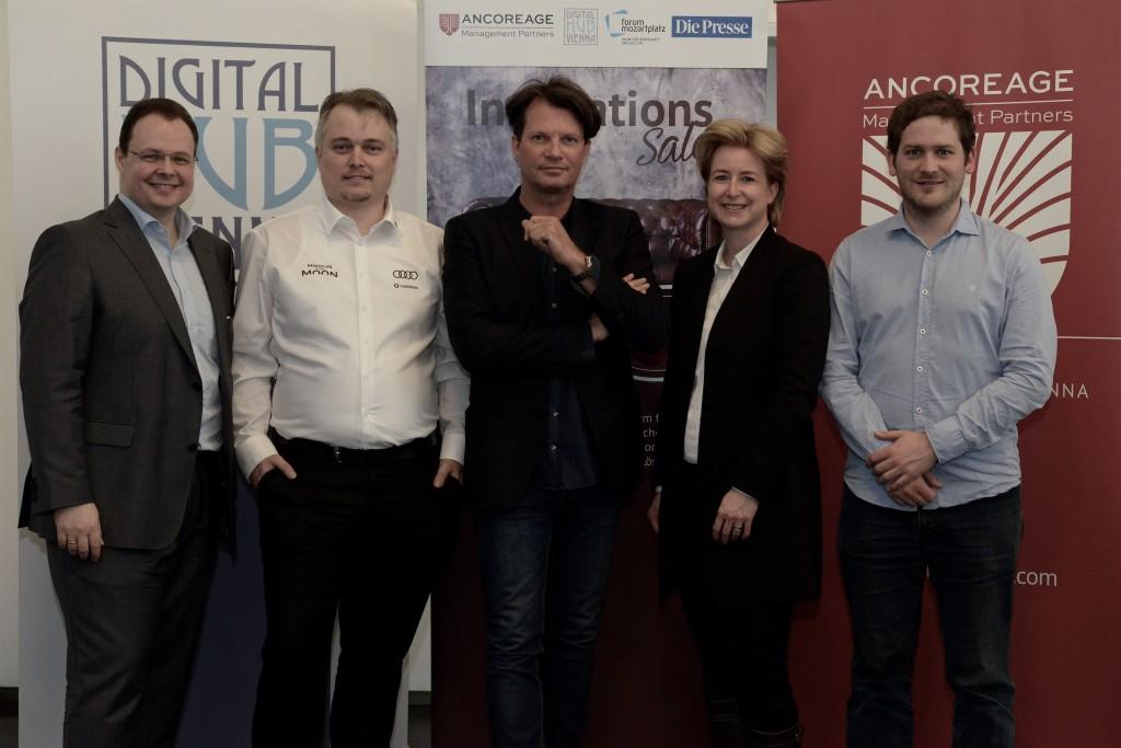 InnoSalon, 30.3.2017: Michael Siegmund (Ancoreage), Jürgen Brandner(PT Scientists), Jens Hurtig (Digital Hub Vienna), Birgit Kraft-Kinz (Digital Hub Vienna), David Hengartner (Swisscom)