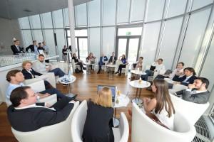 Digital Hub Vienna, 11.5.2017: Blick auf die Diskussionrund mit UnternehmerInnen und ExpertInnen, UNIQA Tower Wien. Copyright: Digital Hub Vienna